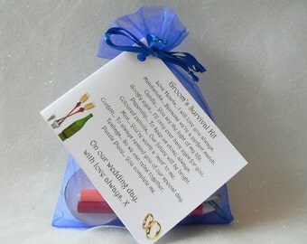 Groom Survival Kit. A gift from the Bride on your special day. Lovely wedding keepsake