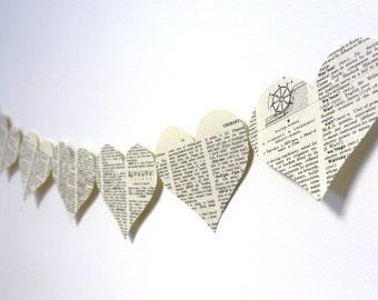 Recycled Book Paper Bunting ~ Indoor bunting ~ Dictionary Corner Hearts ~ Paper Bunting ~ Wedding Bunting ~ Heart Garland