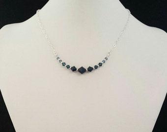 Swarovski Crystal Ombre Sterling Silver Necklace