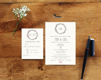 100 Wedding Invitations and RSVP bundle