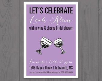 Wine and Cheese Bridal Shower Invitation