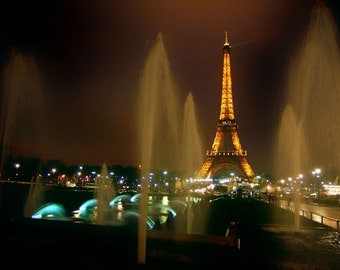 Eiffel Tower at Night Wall Mural Wallpaper Photo Decor