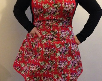 Handmade 1940's Red Classic Vintage Apron