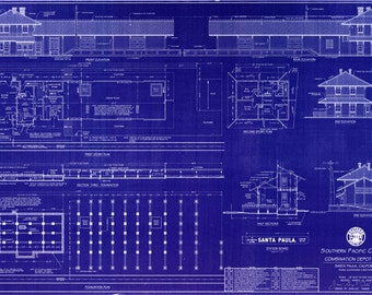 "Santa Paula, California 1887 Southern Pacific Railroad Depot - Handmade Blueprint (24"" x 36"") - HO Scale"