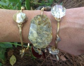 Natural stone, mother of pearl and crystal bangle bracelet set of three