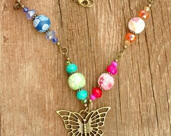 Butterfly Necklace, Boho Necklace, Polymer bead Necklace, Gypsy Necklace, Gypsy Jewelry,  bohemian Beaded Necklace, hippy Boholilyshoppe