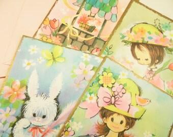 Vintage Unsigned Greeting Cards Set Of 4 Pastel Pleasures