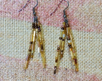 Multi-Brown Bead Dangling Earrings