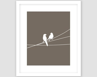 Birds on a Wire Print, Taupe Brown and White, Animal Wall Art, Modern Art, Instant Download, DIY, Printable