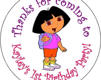 12 Dora the Explorer Birthday Party Stickers 2.5 inch Round Personalized kids