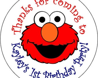 12 printed  Elmo Boy or Girl Birthday Party Stickers 2.5 inch Round Personalized kids