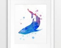 Shark Watercolor Printable File, Shark Silhouette  Watercolor Blue Violet - Nautical Sea Summer Modern Wall Art Home Decor Digital Print