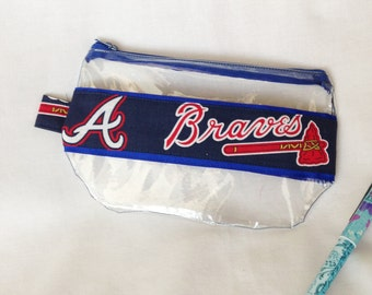 Atlanta Braves Ribbon Clear Vinyl Zipper pouch, Cosmetic, Accessory, Pencil Pouch