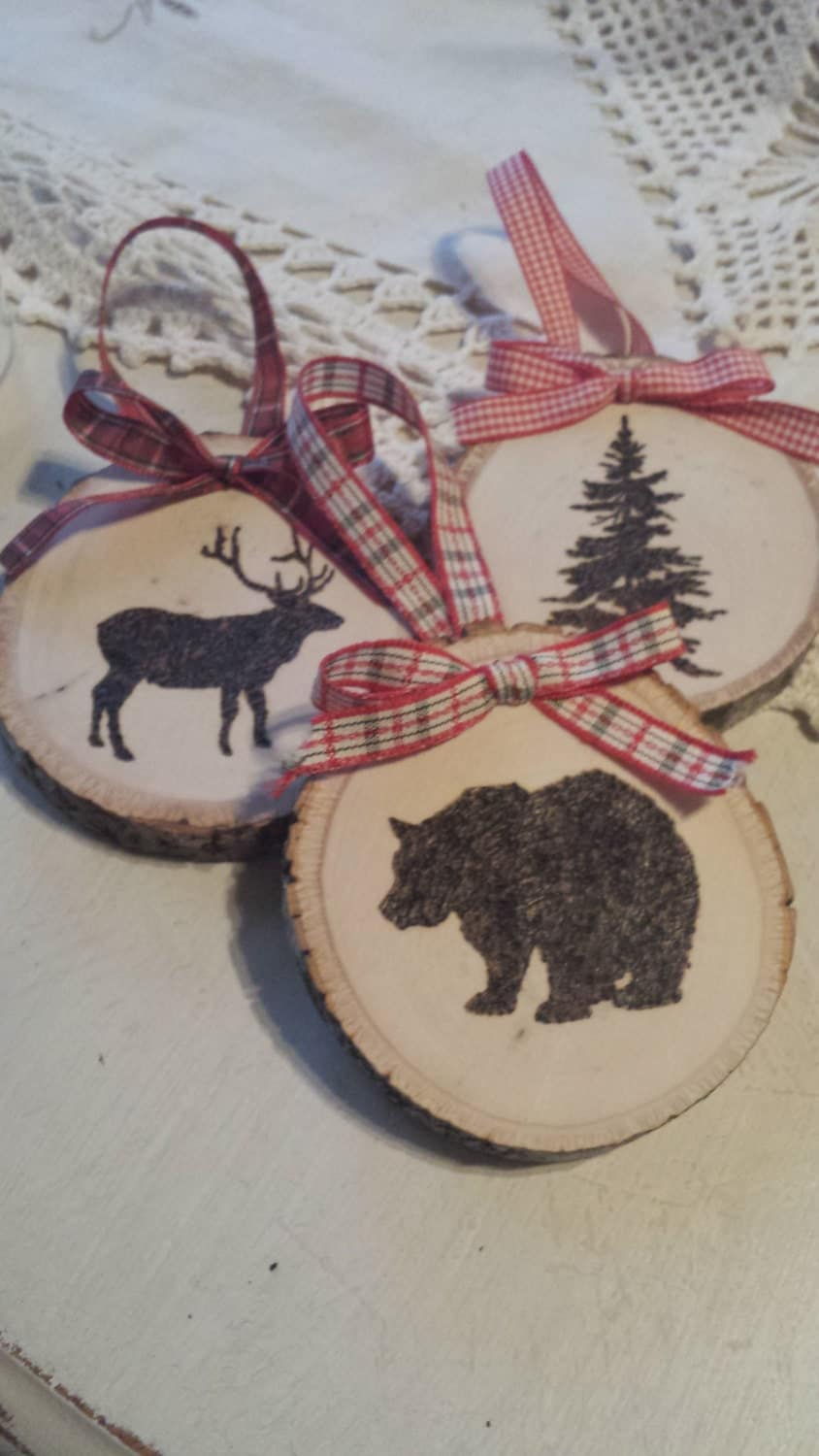 Diy Christmas Ornaments Etsy : Wood burned christmas ornaments by thistlensage on etsy