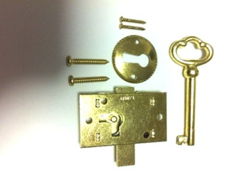 BRASS PLATED STEEL Flush Mount Cabinet Door Lock & Skeleton Key L-1B
