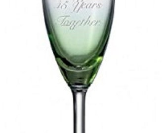 Happy Emerald Anniversary Pair of Wedding Champagne Flutes Glasses 55 Years Together