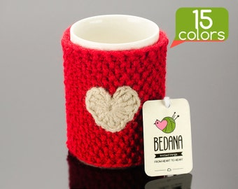 Cup warmer - Knitted cup warmer made from durable yarn. Unique design, free gift wrapping, 15 colors!