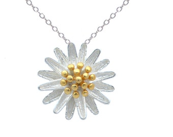 Wild Flower Blossom Necklace in Sterling Silver with 18ct Gold Plate 16'' - 18''