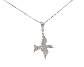 CZ Crystal Encrusted Flying Bird Pendant Necklace 18''
