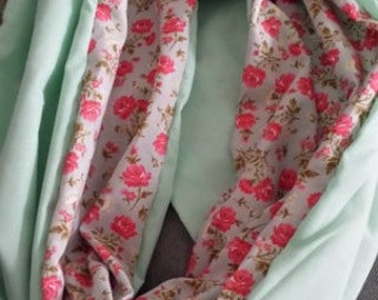 Roses and Mint Infinity Scarf