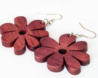 Dark Red Flower Earrings Dangle & Drop Earrings
