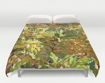 Fall Leaves, Duvet Cover, Green, Yellow, Brown,Modern Fall Bedding,Bedroom Decor,Home Accessories,Bedroom Art,Designer Cover,Interior Design