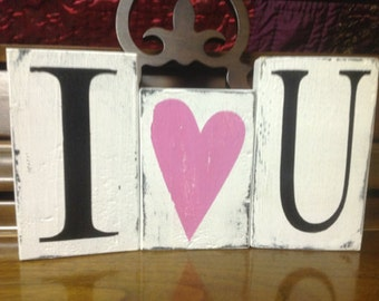 I Love You Hand Painted Block Set