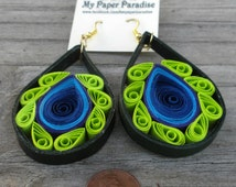 Quilling Peacock inspired earrings (II) - hand crafted accessory