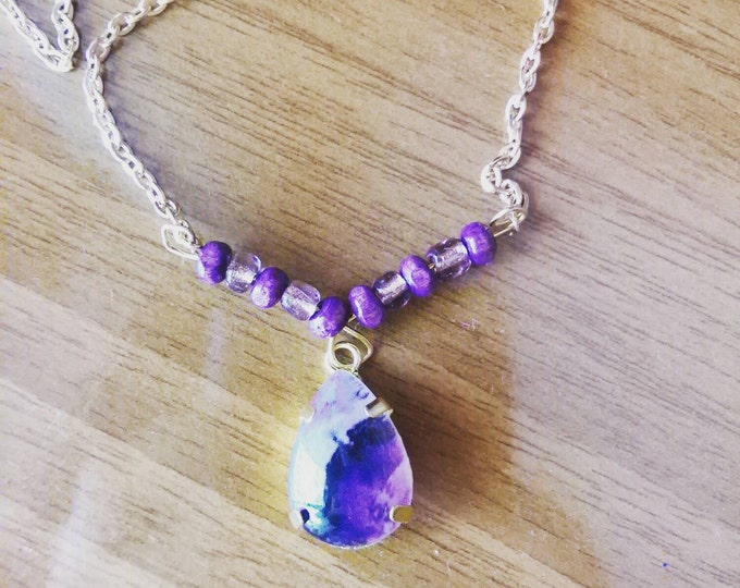 Crystal purple necklace,boho necklace,green crystal necklace,hippie pendant,boho pendant,crystal pendant necklace,gold pendant necklace