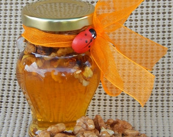 Raw organic polyfloral honey with nuts form Transilvania Maramures