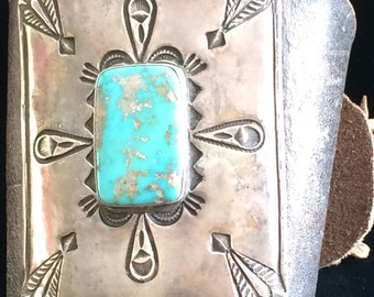 A Navajo Ketoh (Wrist Guard), Leather Cuff with Silver and Turquoise,1930's/40's