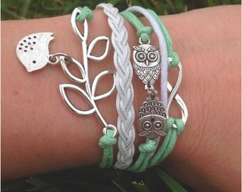 Infinity Owl Bird Bracelet | mint green | owl | bird bracelet | infinity symbol