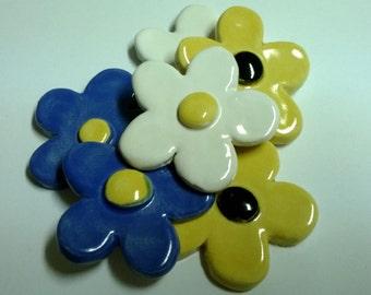Set of 6 Ceramic Daisies, various colours
