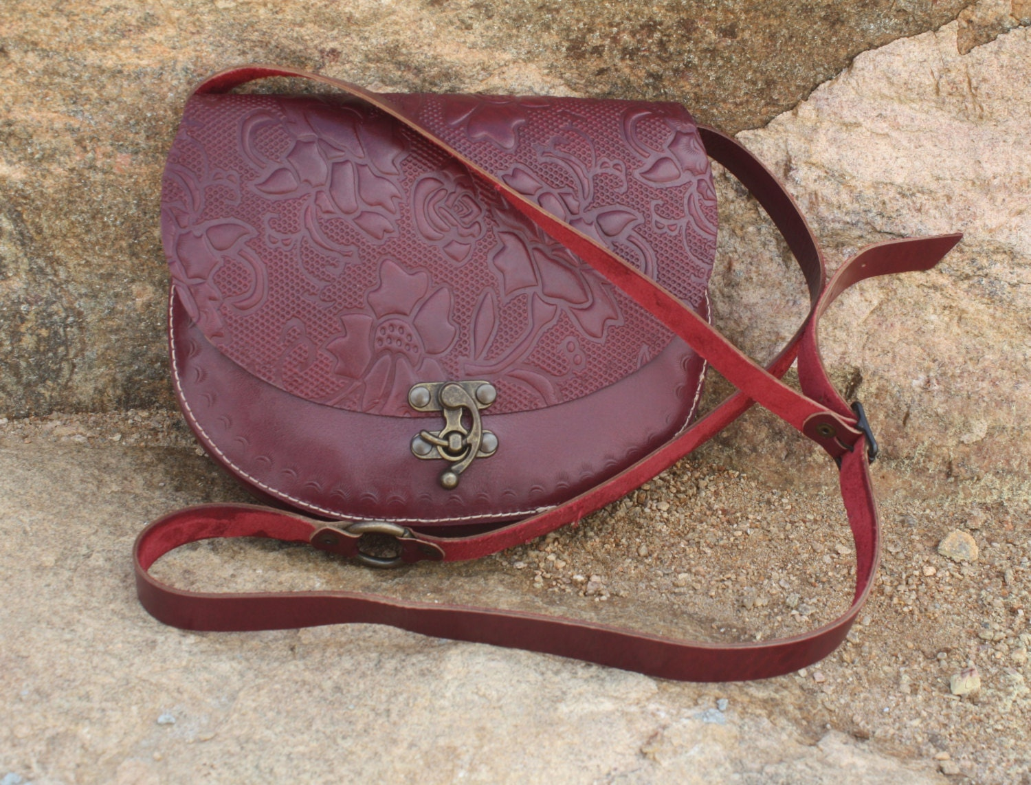 Red Leather Floral Embossed Handbag/Purse/Crossbody Bag