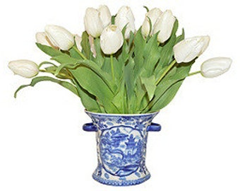 White Tulips in a Blue & White Vase