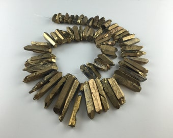 Gold quartz points Crystal points Matte Coated Quartz points Dagger beads top drilled Raw Rough Natural full strand 5-8*15-40mm 60pcs