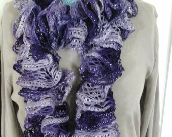 Hand Knit Ruffled Scarf