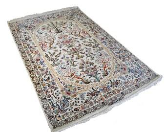 SHOP CLOSING SALE Wool and Silk Isfahan Handmade Persian Carpet