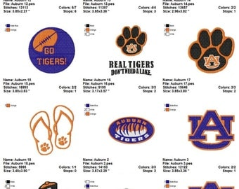 Auburn Tigers  University Embroidery Designs Collection Instant Digital Download