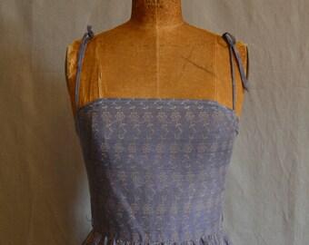 Vintage Gray-lavendar floral 50s day dress