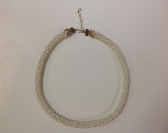 Vintage Choker Rope Style Necklace with Synthetic Pearls