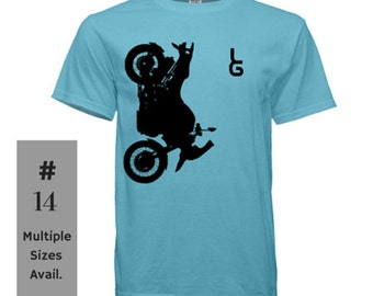 LG Motorcycle shirt, Leanr Gear shirt, motorcycle on the front of shirt, sky blue shirt, motorcycle tee, motorcycle t-shirt, motorcycle gear