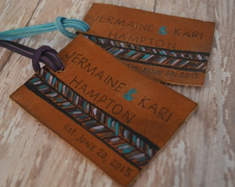 Anniversary Luggage Tag - custom luggage tag - Leather Travel tags