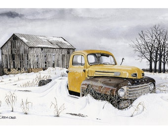 Farm Forgotten - Old Ford Truck, Art Print, Watercolor Painting, Ford truck wall art, Christmas gift ideas
