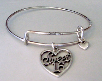 Sweet Sixteen Heart Bangle Bracelet /ADJUSTABLE  Bangle Heart Charm/  Add A  Birthstone Crystal Drop  w/ A Silver Tone Heart  Usa Gift  HB1