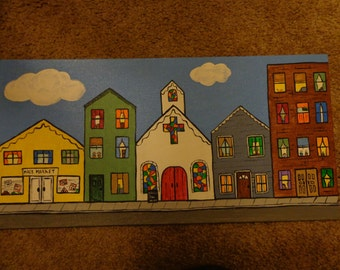 "Folksy Country Main Street painting - can be wall hanging or magnet -- 8"" x 16""  Handpainted"