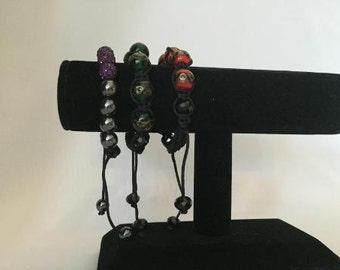 Macrame lampwork murano glass bracelet