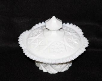 """John E Kemple Milk Glass Covered Sugar Bowl 50s """"Yutec"""""""