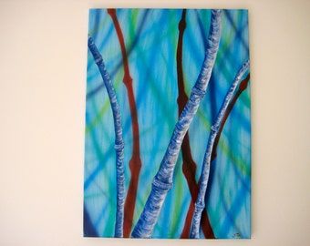 """3D acrylic painting """"blue bamboo 2"""""""