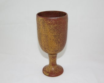 Wine Goblet, Red/Brown Handmade Stoneware Pottery